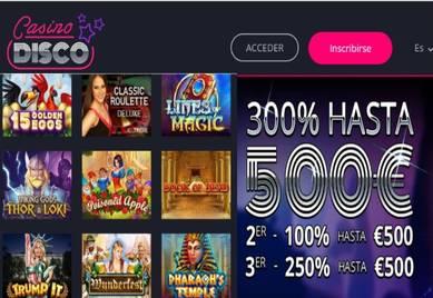 500 euros esperan en Casino Disco por los primeros tres depósitos